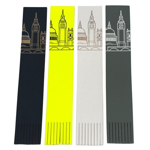 London Skyline Recycled Leather Bookmark: White/Fluoro Pink Image